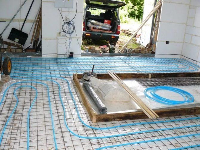 Водяной тёплый пол в гараже укладка