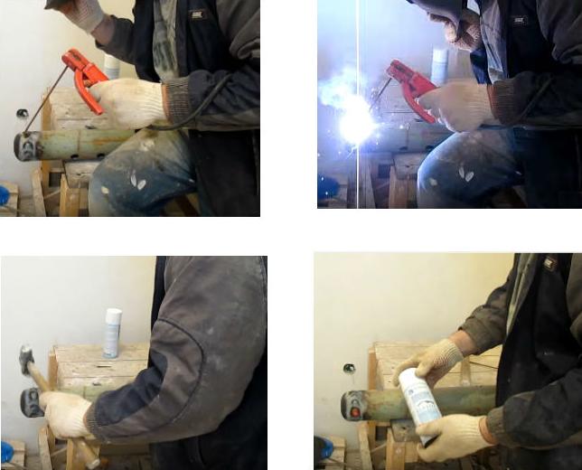 Процесс сварки гидрострелки