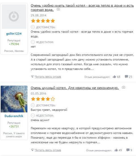 Отзывы пользователей газовых котлов Навьен
