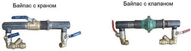 Байпас с краном и клапаном для системы отопления