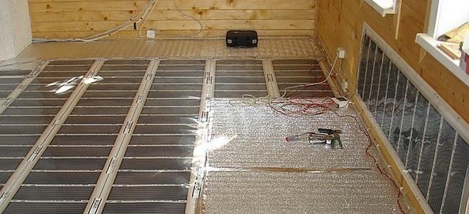 ИК теплый пол в доме из бруса