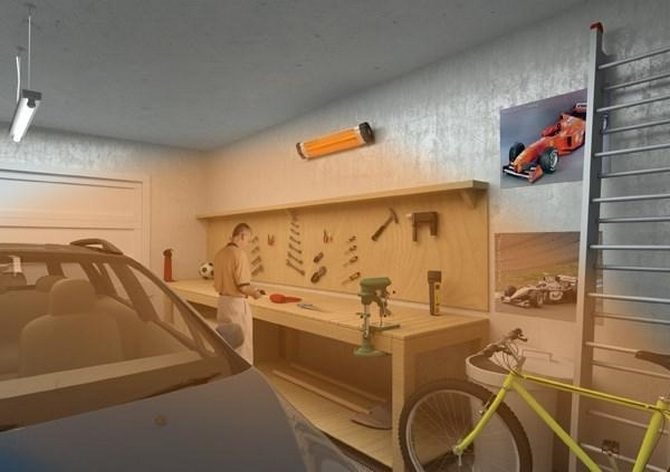 ИК обогреватель в гараже