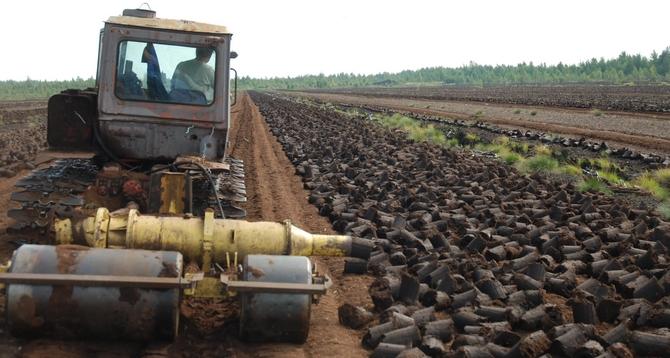 Процесс производства кускового торфа с помощью трактора