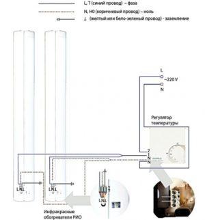 Cхема подключения термостата к инфракрасному обогревателю