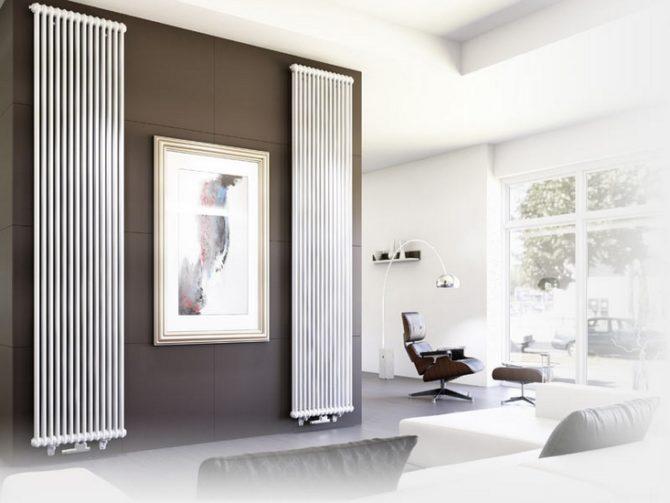 Вертикальные радиаторы в интерьере помещения